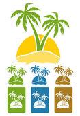 La imagen del árbol de palma en la isla. — Vector de stock