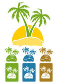 The palm tree image on island. — Vettoriale Stock