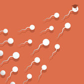 El vuelo de esperma flota al propósito. — Vector de stock