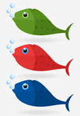Icon of fish in three variants. — Stock Vector