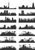 Silhouettes of cities — Vector de stock