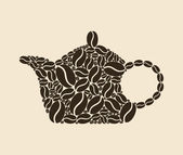 Teapot collected from coffee grains. — Stock Vector