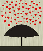 On an umbrella a rain from red hearts. — Stock Vector