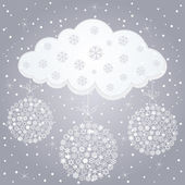 Snow cloud and snow in the winter. — Stock Vector