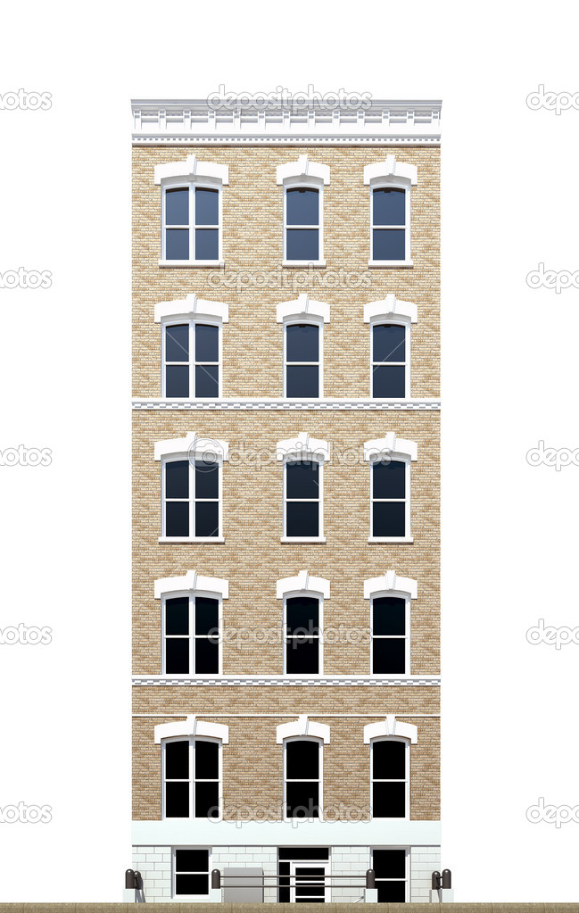 Building viewed from front elevation on white background — Stock ...