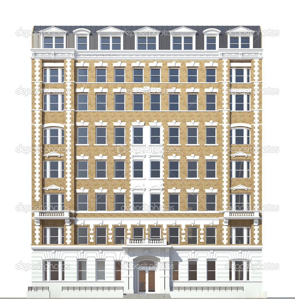 Building viewed from front elevation on white background for Exterior view of building