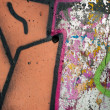 Textures and vibrant colours of urban art — Stock Photo
