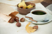 Pears, roasted chestnuts — Stock Photo