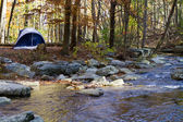 Camping By Mountain Stream — Stock Photo