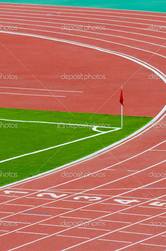 A part of an outdoor stadium - running tracks  — Stock Photo #6940069
