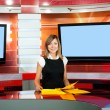 Royalty-Free Stock Photo: Television anchorwoman at TV studio