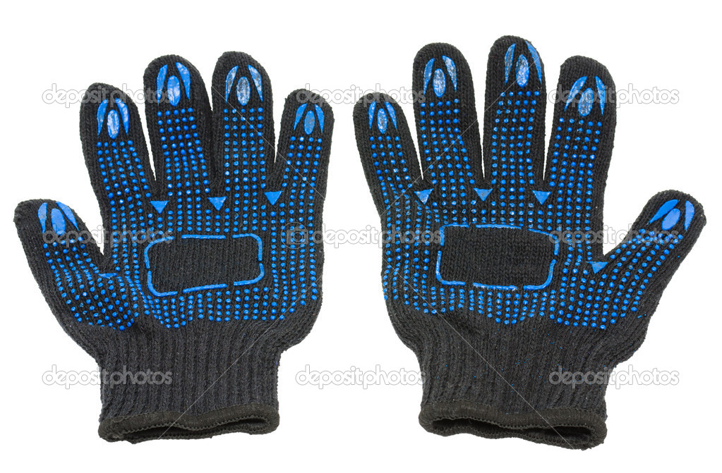 A pair of black knitted work gloves, isolated  Stock Photo #7225859