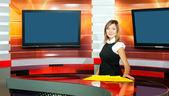 Pregnant television anchorwoman at TV studio — Stock Photo