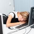 Sleep at computer — Stock Photo