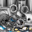 Lots of auto spare parts - Stock Photo