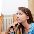 Young girl painter — Stock Photo