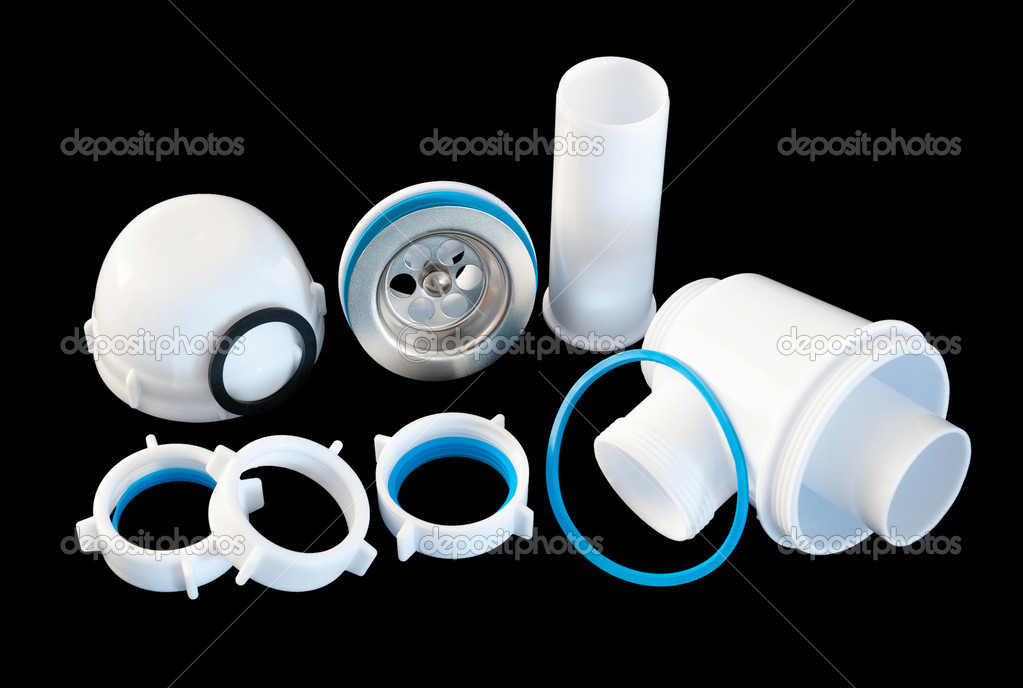 Details of a disassembled PVC kitchen sink interceptor — Stock Photo #7506979
