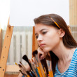Stock Photo: Young girl painter