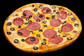 Pizza with peperoni and olives, isolated — Stock Photo