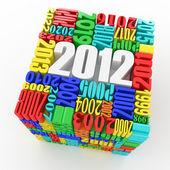 Año nuevo 2012. cubo formado por los números — Foto de Stock