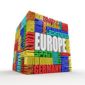 Europe. Box from name of european countries — Stock Photo