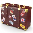 Brown leather suitcase with travel stickers — Stock Photo #6846288