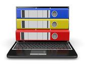 Archive. Laptop with folders instead of the screen — Stock Photo