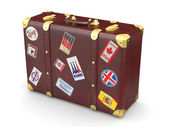 Brown leather suitcase with travel stickers — Stock Photo