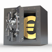 Euro sign in vault. 3d — Stock Photo