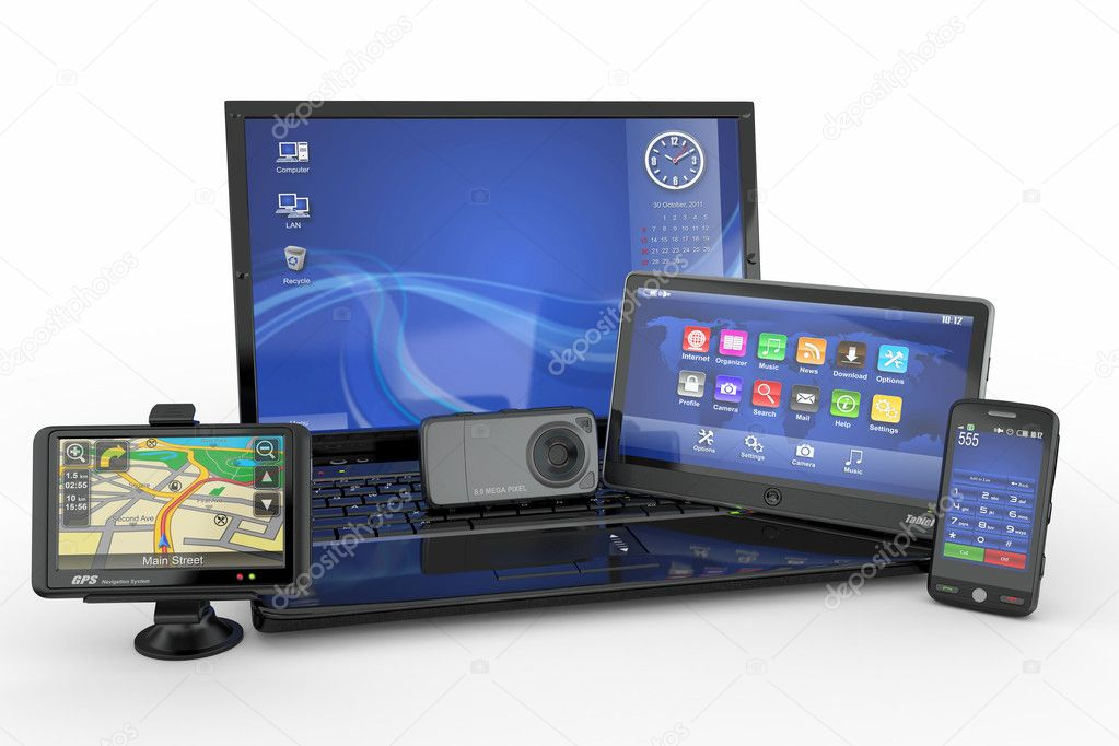 Electronics. Laptop, mobile phone, tablet pc and gps. 3d  Stock Photo #7133818
