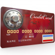 Credit card with steel security lock. 3d — Stock Photo #7382086