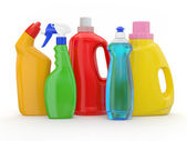 Different detergent bottles on white background — Stock Photo