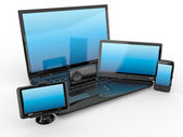 Laptop, mobile phone, tablet pc and gps. 3d — Stock Photo