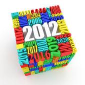 Neues jahr 2012. cube, bestehend aus den zahlen — Stockfoto