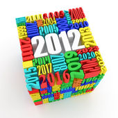 New year 2012. Cube consisting of the numbers — 图库照片