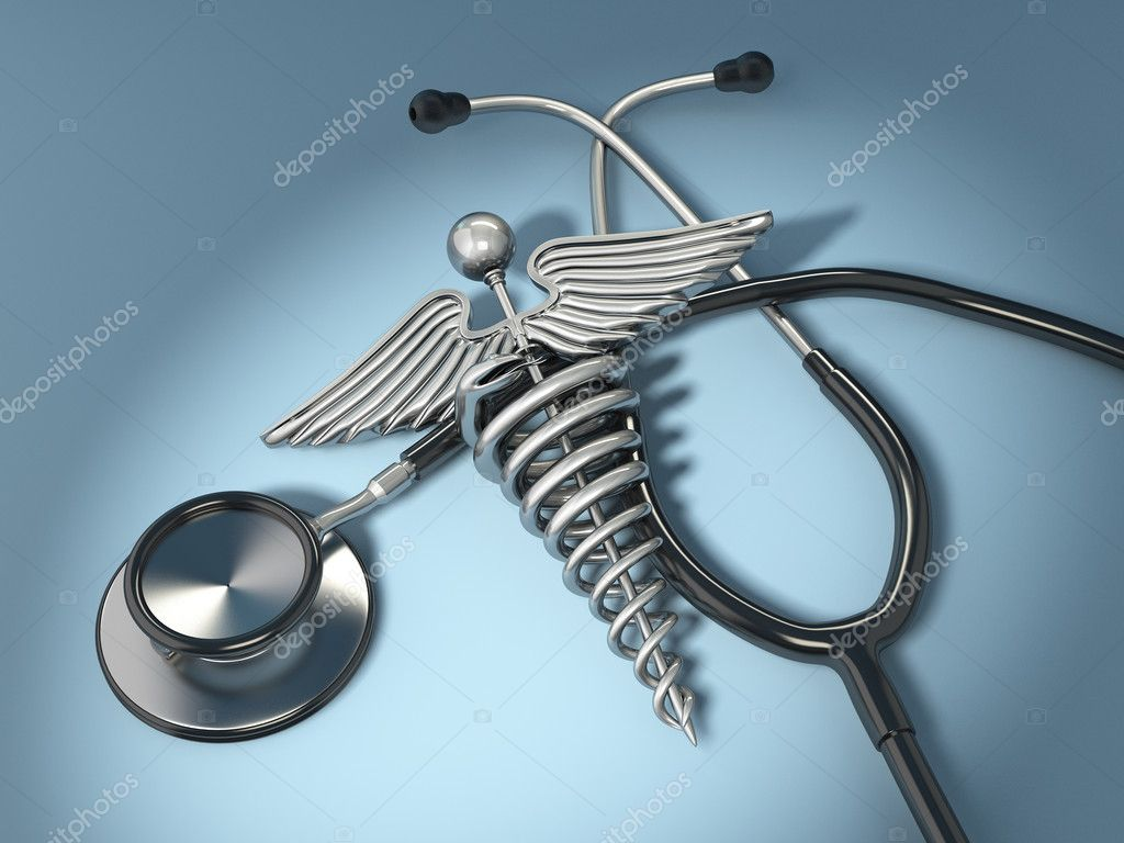 Stethoscope with symbol of medicine, caduceus. 3d  Stock Photo #7582056