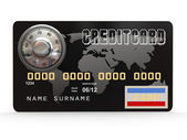 Credit card with steel security lock. 3d — Stock Photo