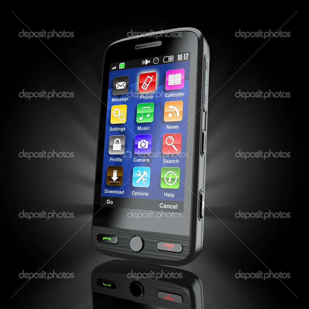 Cellphone. Mobile phone on black background. 3d — Stock Photo #7798343