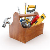 Toolbox with tools. Skrewdriver, hammer, handsaw and wrench — Photo