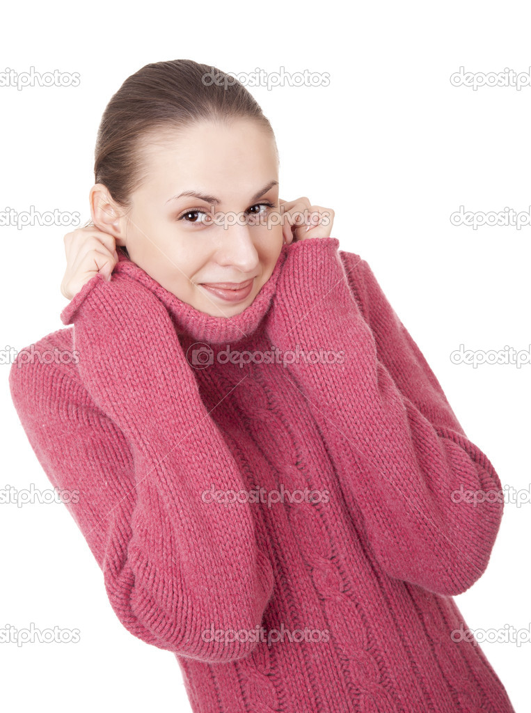 Beautiful young woman in red winter sweater on white background — Stock Photo #7019636
