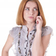 Strict young woman in blouse with mobile phone — Stock Photo