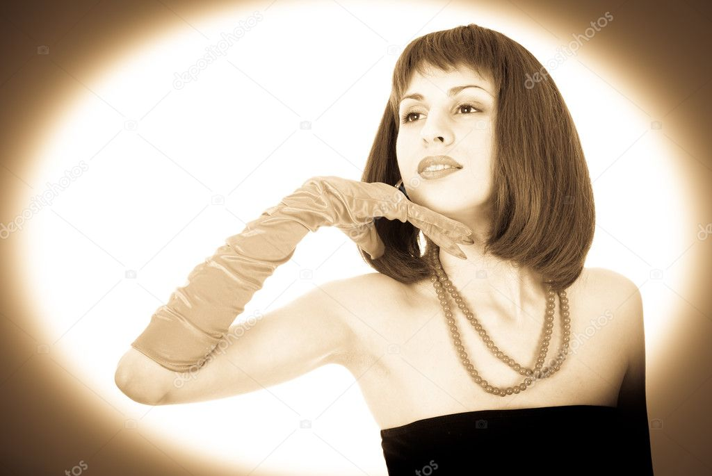 Attractive woman portrait in retro style, sepia  Stock Photo #7020261