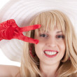 Playful fashion girl in retro style with big hat — Stock Photo