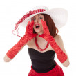 Shouting fashion girl in retro style with big hat — Stock Photo #7237539