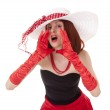 Shouting fashion girl in retro style with big hat — Stock Photo