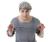 Look naughty rowdy stylish young man — Stock Photo