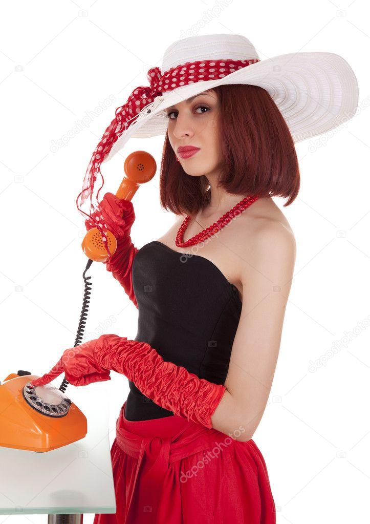 Chica De Moda En Estilo Retro Con Tel Fono Vintage Foto Stock Iryna Rasko 7492698