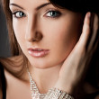 Elegant fashionable woman with silver jewelry — Stock Photo