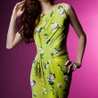 Beautiful fashionable woman in green clothes - Foto de Stock