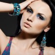 Stock Photo: Elegant fashionable womwith jewelry